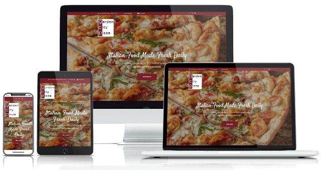 Example of Web Design using Garden City Pizza Website on different size digital devices