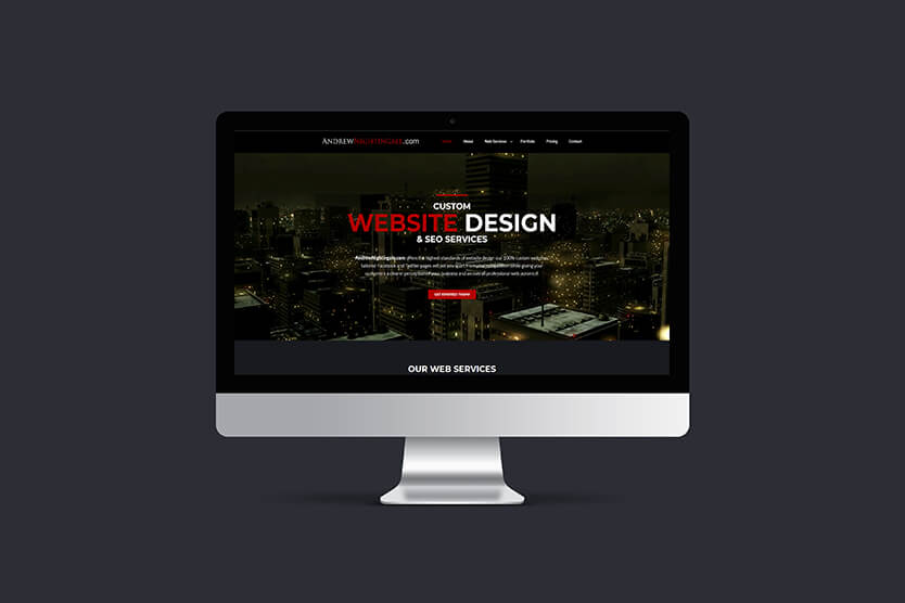 Custom website design from AndrewNightingale.com example of this website shown on a mac screen