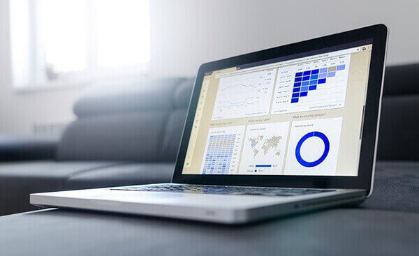 Pay Per Click marketing campaign management - laptop showing analytics