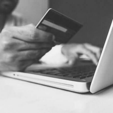eCommerce - Buying online laptop and credit card